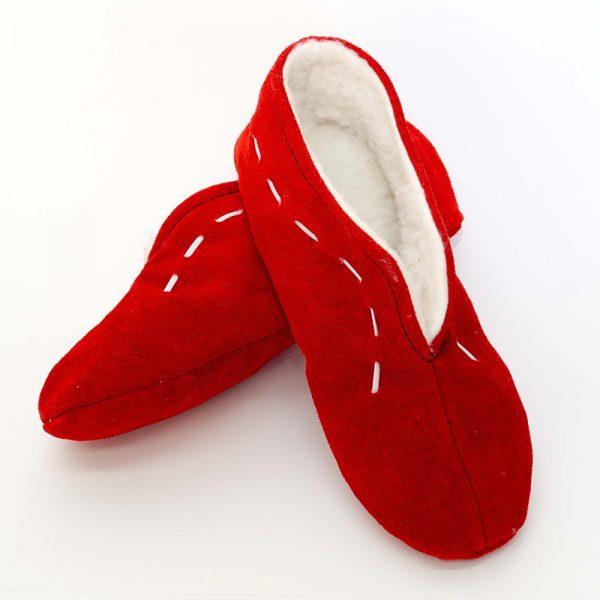 babucha hecha a mano rojas